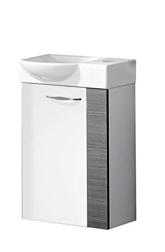 FACKELMANN SCENO Gäste WC Set Links 2 Teile/Keramik Waschbecken/Waschbeckenunterschrank mit 1 Tür/Soft-Close/Türanschlag Links/Korpus: Weiß/Front: Weiß/Blende: Schwarz/Breite: 45 cm