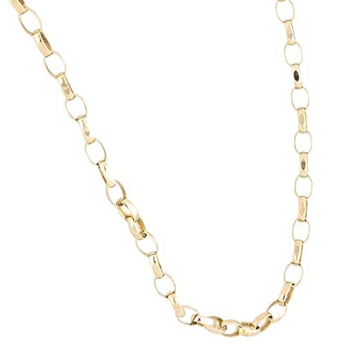 Jollys Jewellers Cadena Belcher de oro amarillo de 9 quilates de 24 pulgadas con corte de diamante (3 mm de ancho)   Collar único para mujer