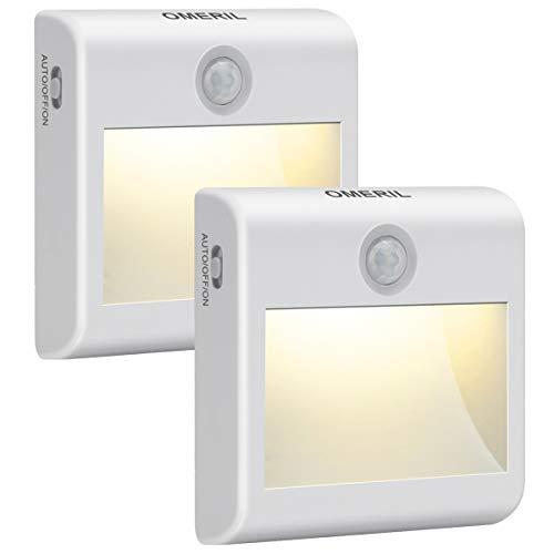 LED Nachtlicht mit Bewegungsmelder OMERIL 2 Stück Warmweiß Nachtlicht Kind, 3 Modi (Auto/ON/OFF) LED Schrankbeleuchtung mit Haftend, Orientierungslicht für Kinderzimmer, Schlafzimmer, Treppen, Flur