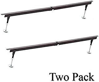 W. Silver Products Heavy Duty Steel Bed Slat, Bed Frame Center Support System, Adjustable Height/Width for Twin, Full and Queen, Universal, Prevents Mattresses and Box Springs from Sagging (2 Pack)