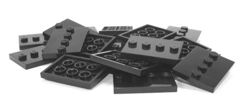 Lego Parts: Tile, Modified 3 x 4 with 4 Studs in Center - Minifigure Display Base Collector Series (PACK of 16 - Black)