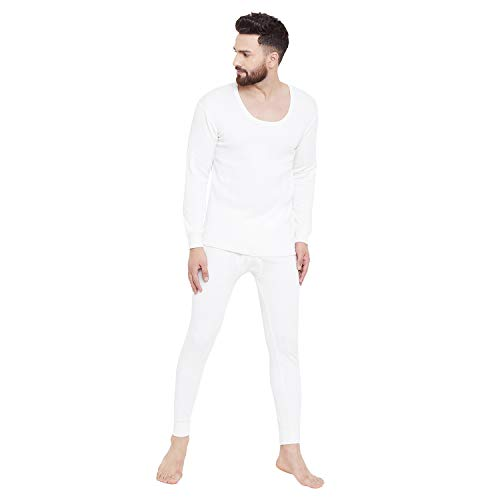 ZIMFIT Cotton Men's or Boy's Winter wear Round Neck Full Sleeves Thermal,Warmer Set in White Colour Size,38 (Pack of 1)