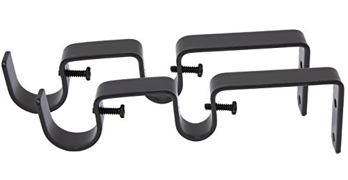 """MERIVILLE Double Curtain Rod Bracket - Designed for 1"""" Frond Rod and 5/8"""" Back Rod Double Drapery Rod, Oil-Rubbed Bronze, Set of 2"""