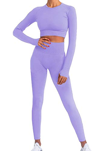 Buscando Workout Sets for Women 2 Piece Long Sleeve Ribbed High Waitst Athletic Legging Workout Outfits 2 Piece (ZZ_Lavender, Medium)