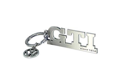 BRISA VW Collection - Volkswagen GTI Schlüssel-Anhänger mit VW-Charm, Geschenk-Idee/Fan-Souvenir/Retro-Vintage-Artikel (Silber)