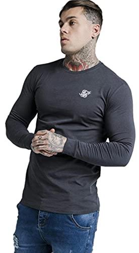 SikSilk Camiseta de manga larga para gimnasio, color azul marino, azul marino, L