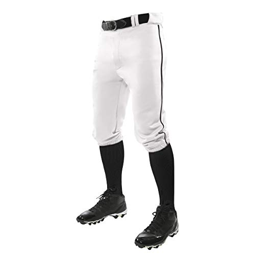 CHAMPRO Triple Crown Knicker Style Baseball Pants with Contrast-Color Braid Piping and Reinforced Sliding Areas, WHITE,BLACK PIPE, Small
