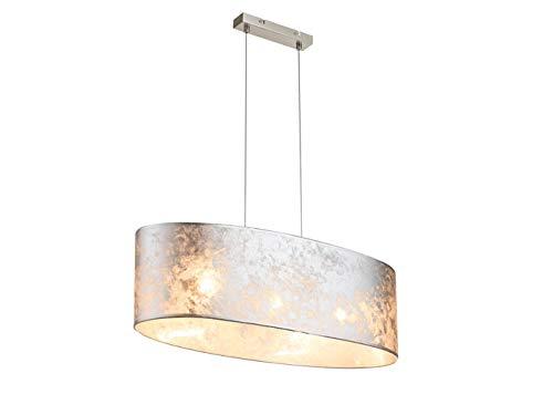 Exklusive LED Pendelleuchte AMY I 65x25 cm, Lampenschirm Stoff silber marmoriert, Esstischlampe