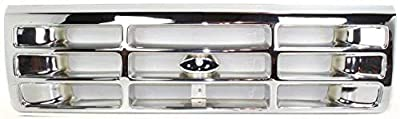 Grille Assembly Compatible with 1992-1996 Ford F-150 Plastic Chrome Shell and Insert