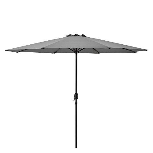 casa.pro Sombrilla Sonn 300 x 230 cm con Manivela para Jardín Patio Terraza Balcón Repelente al Agua Parasol Vara de Acero Gris