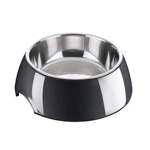 HUNTER Melamin-Napf, Futternapf, Trinknapf für Hunde und Katzen, herausnehmbarer Edelstahlnapf, 1400 ml, schwarz
