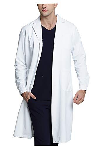 WWOO Laborkittel Herren Baumwolle weiß Arztkittel Arbeitskleidung Medizin kittel Weiss...