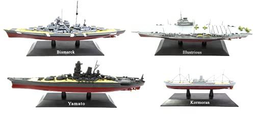 OPO 10 - Lote de 4 Buques de Guerra y portaaviones 1/1250: Yamato + Bismarck + KORMORAN + Illustrious (WS01 + 04 + 08 + 27)