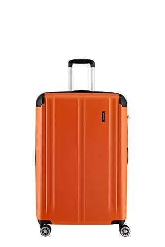 """Travelite Leicht, flexibel, sicher: """"City""""-Hartschalenkoffer für Urlaub und Business (auch mit Vortasche) Koffer, 68 cm, 78 Liter, Orange"""