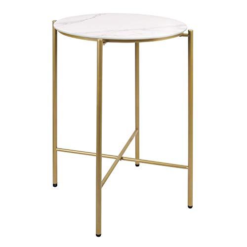 Moncot moderner Beistelltisch runder Couchtisch mit Messing Metallgestell, wasserdichter Kaffeetisch Wohnzimmertisch Marmor weißer Tischplatte aus Hartglas, für den Außen- / Innenbereich, ET116-WH