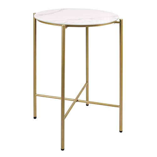 Modern Round End Table with Brass Gold Metal Frame, Tempered Glass Glazed Marble Texture Finish Top Waterproof Outdoor \& Indoor Side Table, Nightstand for Living Room,Bed Room, Patio, ET116-WH