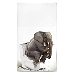 """Elephant Sitting on The Toilet Hand Towels Funny Animals Face Towel Soft Guest Towel Portable Kitchen Tea Dish Towels Washcloths Bathroom Decor Housewarming Gifts 15.7"""" X 27.5"""""""