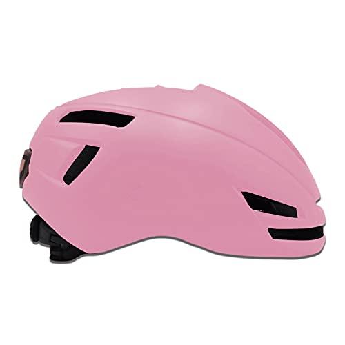 Casco de bicicleta con luz trasera para commuter Urban Scooter ajustable para hombres y mujeres, casco de ciclismo de ciudad ajustable, ligero casco de bicicleta para adultos (rosa)