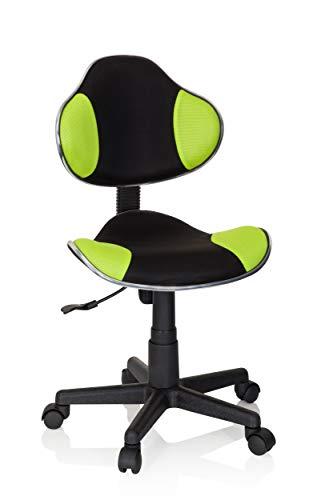 hjh OFFICE 634130 Kinder Schreibtischstuhl KIDDY GTI-2 Stoff Schwarz/Grün ergonomischer Jugenddrehstuhl, höhenverstellbar