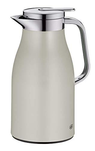 alfi Skyline, Thermoskanne Edelstahl beige 1l mit doppelwandigem alfiDur Vakuum-Hartglaseinsatz. Isolierkanne hält 12 Stunden heiß, ideal als Kaffeekanne oder als Teekanne - 1321.294.100