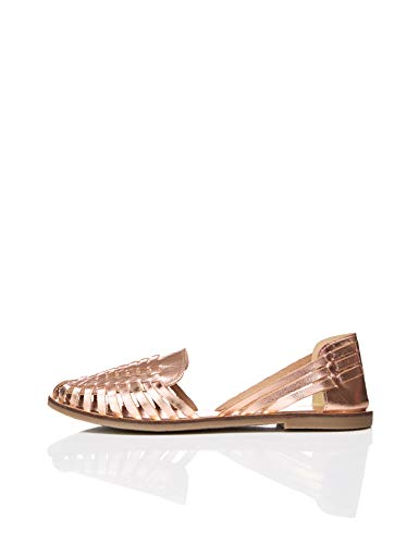 find. Leather Hurrache Sandalias Punta Cerrada, Metallic (Rose Gold), 38 EU