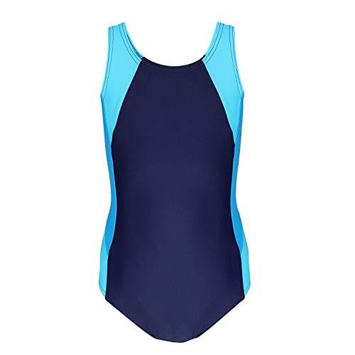 Aquarti Mädchen Badeanzug mit Ringerrücken, Farbe: Dunkelblau/Türkis/Himmelblau, Größe: 134