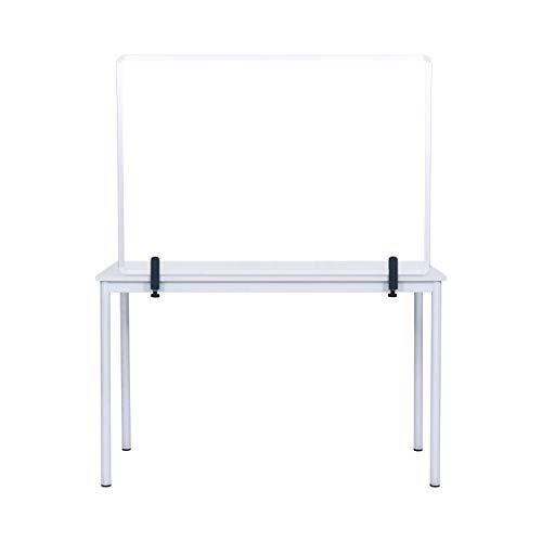 Bi-Office Osłona szklana na biurko z zaciskami, rama aluminiowa, 90 x 60 cm