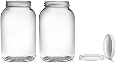 2 Pack ~ Wide Mouth 1 Gallon Clear Glass Jar - White Lid with Liner Seal for Fermenting Kombucha/Kefir, Storing and Cannin...