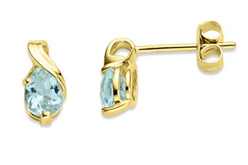 Miore Ohrringe Damen tropfen Ohrhänger mit Edelstein/Geburtsstein Aquamarin in blau aus Gelbgold 9 Karat / 375 Gold, Ohrschmuck
