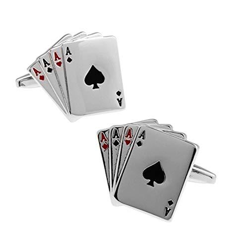 AYDOME Manschettenknöpfe Elegant Manschettenknöpfe Herren Poker Vintage Manschettenknöpfe Set Herren Manschettenknöpfe Silber