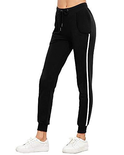 Tomwell Damen Hohe Taille Jogginghose Sporthosen Sweatpants Sweathose Lange Röhrenhosen Trainingshose Freizeithose Sportswear Schwarz EU L