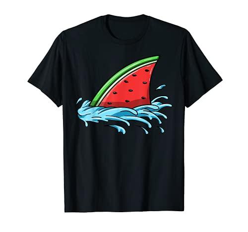 Squalo anguria amante pesce pinna estate frutta fetta semi...