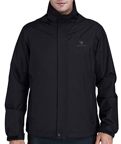 CAMEL CROWN Mens Waterproof Jacket Hooded Windbreaker Windproof Rain Coat Shell for Outdoor Hiking Climbing Traveling Black M