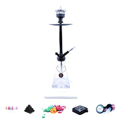 Shisha Set mit Shisha Amy Aero-X Klick II, Kohleanzünder, Naturkohle, Kaminkopf, Dampfsteine und eine kleine Überraschung (Clear / Schwarz-Matt)