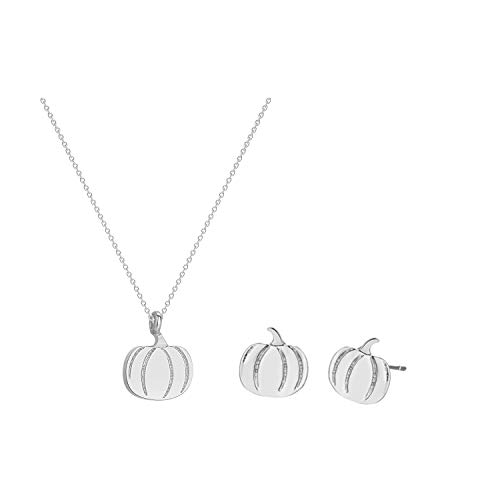 2Pcs Pumpkin Pendant Necklace Earring Set For Women Thanksgiving Halloween Jewelry (silver)