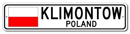 Monsety Klimontow Polnische Flagge Schild Polen Custom Flag Sign Lustige Geschenke Straßenschild für Garage Hof, Zaun Auffahrt, Dekoration