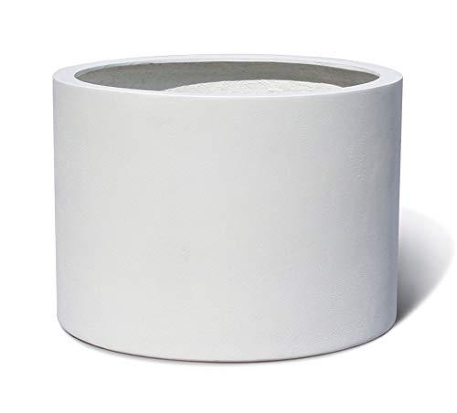 VAPLANTO Pflanzkübel Low Cylinder 50 Weiß Rund * 48 x 48 x 33 cm * 10 Jahre Garantie