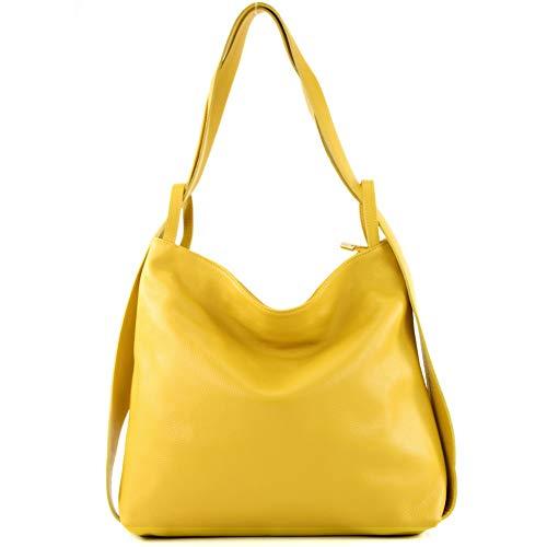 modamoda de - T192 - ital. Damen Rucksacktasche 2in1 aus Leder, Farbe:Sonnengelb