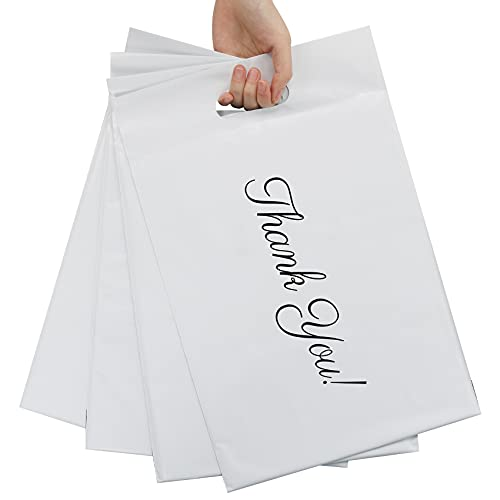 Poly Mailers 10x13 Thank You Shipping Bags 50 Pack White Mailers Poly Bags with Handle for Clothing, Eco-Friendly Mailers Envelopes Thank You Mailing Bags For Business Heavy Duty Self Seal