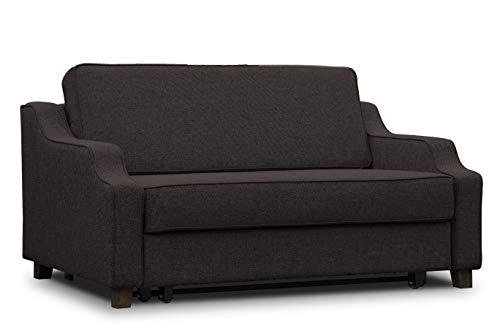 ES Design 08 Slaapbank uittrekbaar ligvlak 140x200 cm 5 jaar garantie Beige Melange Bruin Grijs Zwart houten poten bruin
