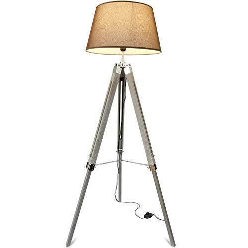 mojoliving® Stehleuchte aus Holz für das Wohnzimmer Schlafzimmer Höhenverstellbar Deko Dreibein Stehlampe Tripod Lampe Höhe 143cm (Schirm Braun, Stativ Braun)