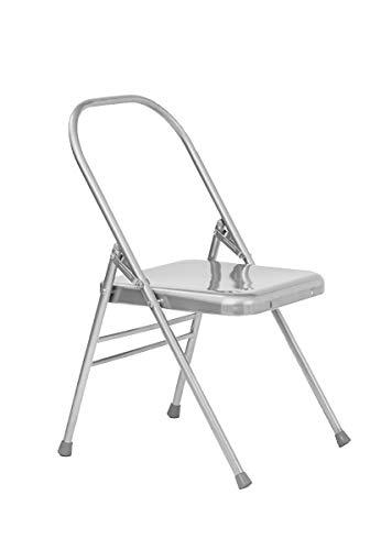 Yoga Studio YS/Folding/Chair/NoFBar, Sedia da Yoga Pieghevole Senza Barra Anteriore, Dimensioni: 47 x 49 x 81 cm Unisex-Adulto, Argento, Standard