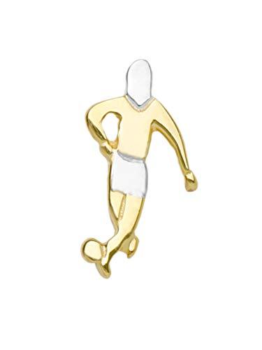MyGold Fußball Ohrstecker Ohrring Einzel Single Weissgold Weißgold Gelbgold 585 Gold (14 Karat) 10mm x 6mm Mini Fußballspieler Fußballer Herrenohrring Goldstecker Pablo V0003579