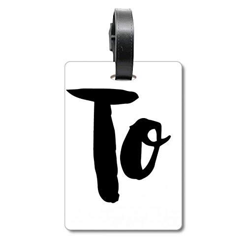 Etikett für Reisegepäck, mit englischsprachigem Zitat