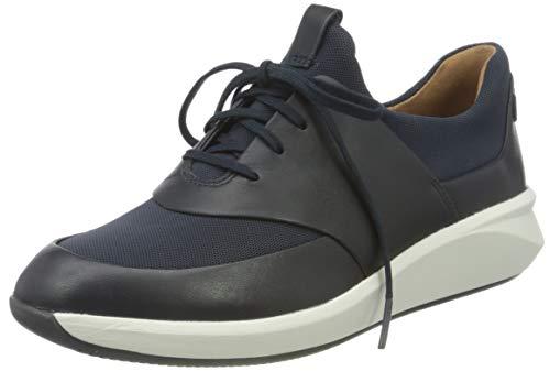 Clarks Un Rio Lace, Zapatillas Mujer, Navy Leather Textile Combi, 37 EU