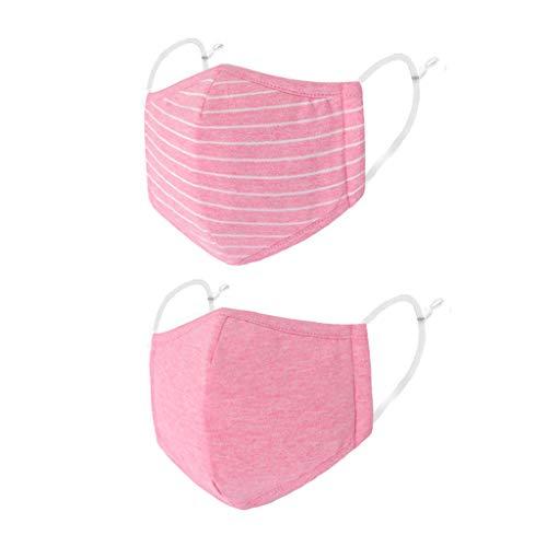 Zolimx Kinder Jungen Mädchen Gestreifter Druck Verstellbarer 3-Schicht-Filter Safet Protect Baumwolle 2PCS