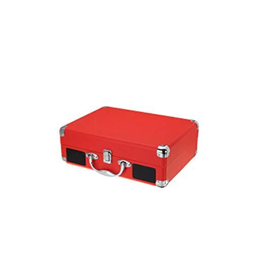 HMY Plattenspieler, Bluetooth Tragbarer Koffer Drehscheibe Vinyl-LP-Rekord Telefon-Spieler 3-Speed Aux-In Line-Out 100-240V,Rot