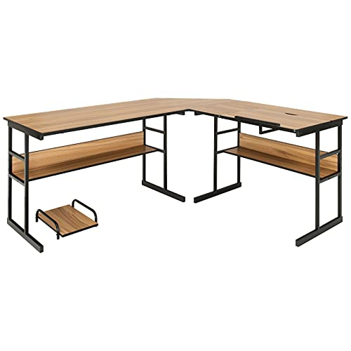 Walnut L-Shape Corner Computer Desk Drafting Table Workstation 2 Open Bookshelves Laptop Notebook Study Writing Reading Drawing Table Tiltable Drawing Board Detachable Design Can Split Into 2 Tables