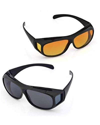 Boolavard Pack de 2 Lunettes de vision nocturne pour automobilistes, pour porteurs de lunettes, verres polarisants teintés, conformes à la norme ISO, noir/jaune