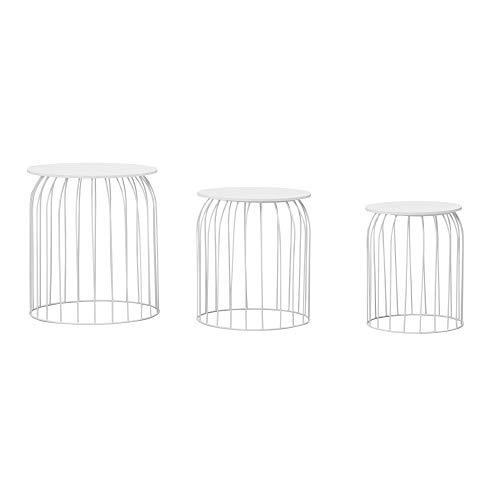Wohnling Design - Set di 3 tavolini da salotto in vimini con vassoio rimovibile, 3 pezzi, con spazio